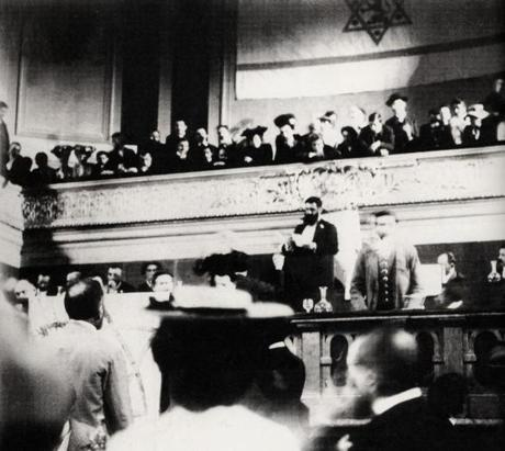 "Theodor Herzl is pictured at a 1903 speech in the documentary ""It Is No Dream: The Life of Theodor Herzl."""